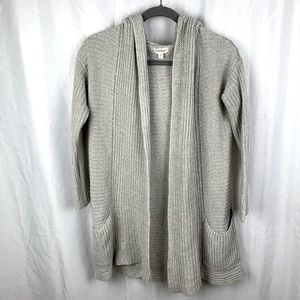KJ Basics Oatmeal Tan Hooded Cardigan Sweater XS